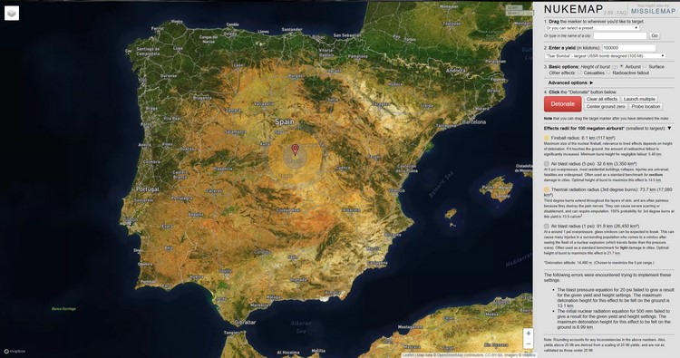 Mapa interactivo para conocer el efecto de una explosión nuclear en cualquier parte del mundo