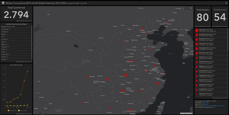 Mapa de seguimiento en tiempo real del coronavirus de Wuhan (China)